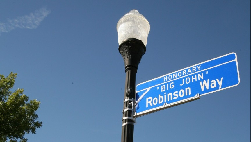 "September 29, 2015 – Honorary Street Naming for ""Big John"" Robinson – Peoria's first self-made Black millionaire"