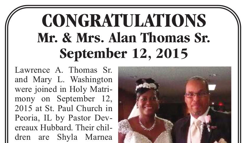 Presenting Mr. & Mrs. Alan ThomasSr.