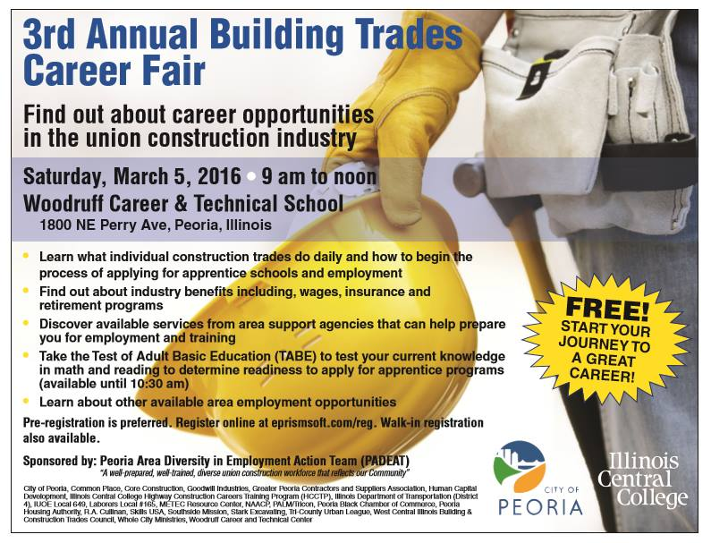 Peoria Area Diversity in Employment Action Team (PADEAT) to Sponsor 3rd Annual Building Trades Career Fair March 5,2016