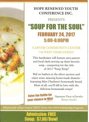 """Hope Renewed Youth Conference Inc. Presents """"SOUP For The SOUL""""  February 24,2017"""