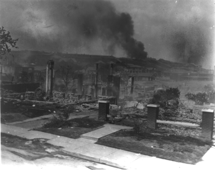Smoldering ruins of African American's homes following race riots in Tulsa, Oklahoma in 1921Photo By Alvin C. Krupnick Co. - LOC, Public Domain